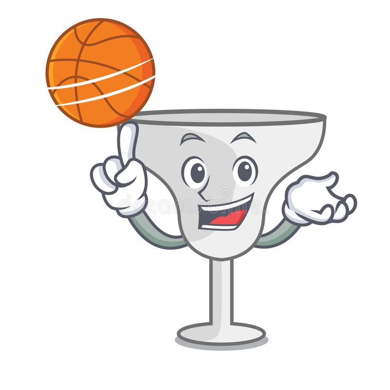 With basketball margarita glass character cartoon. Vector illustration royalty free illustration