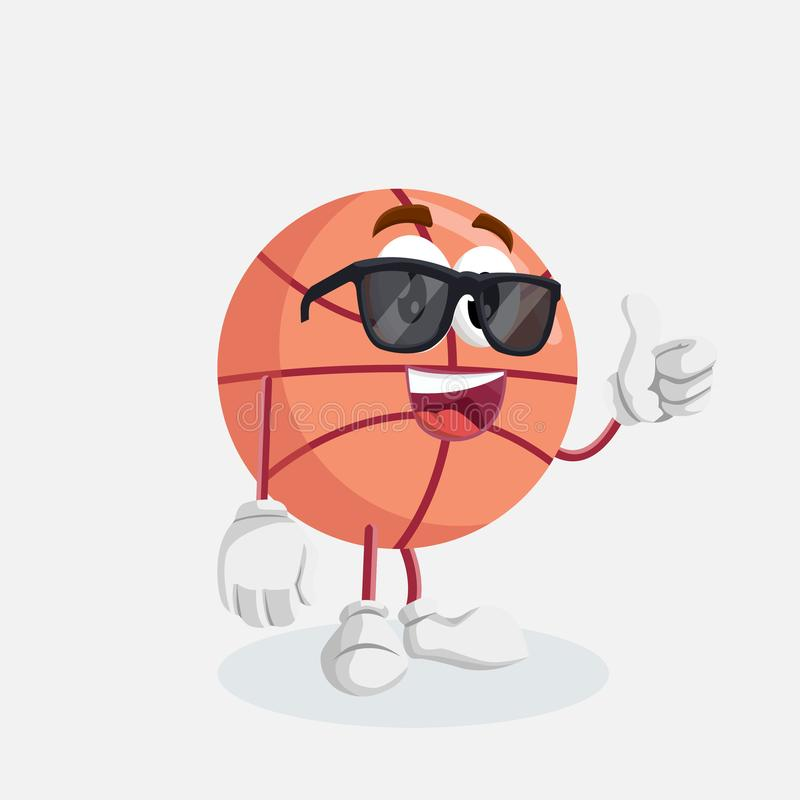 Basketball mascot and background thumb pose. With flat design style for your mascot branding vector illustration