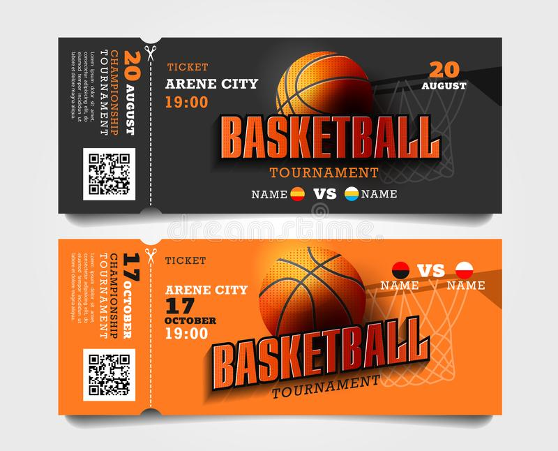 Basketball match entrance torn-off tickets with ball and basket and big typography royalty free illustration
