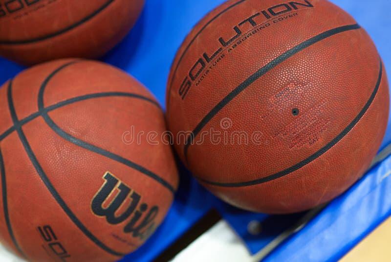 Basketball match of Ukraine super league Kharkiv falcons - Khimik. Kharkiv, Ukraine - March 1, 2020: Official basketball ball Willson of the match of Ukraine royalty free stock photography