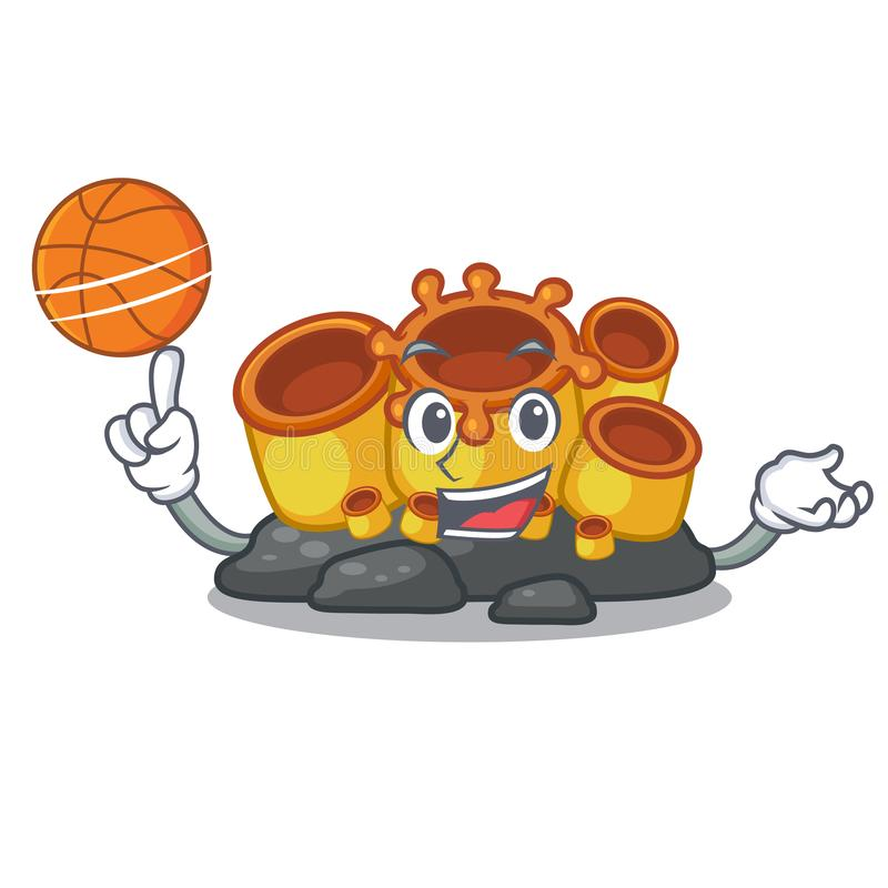 With basketball miniature orange sponge coral in character. Vector illustration stock illustration