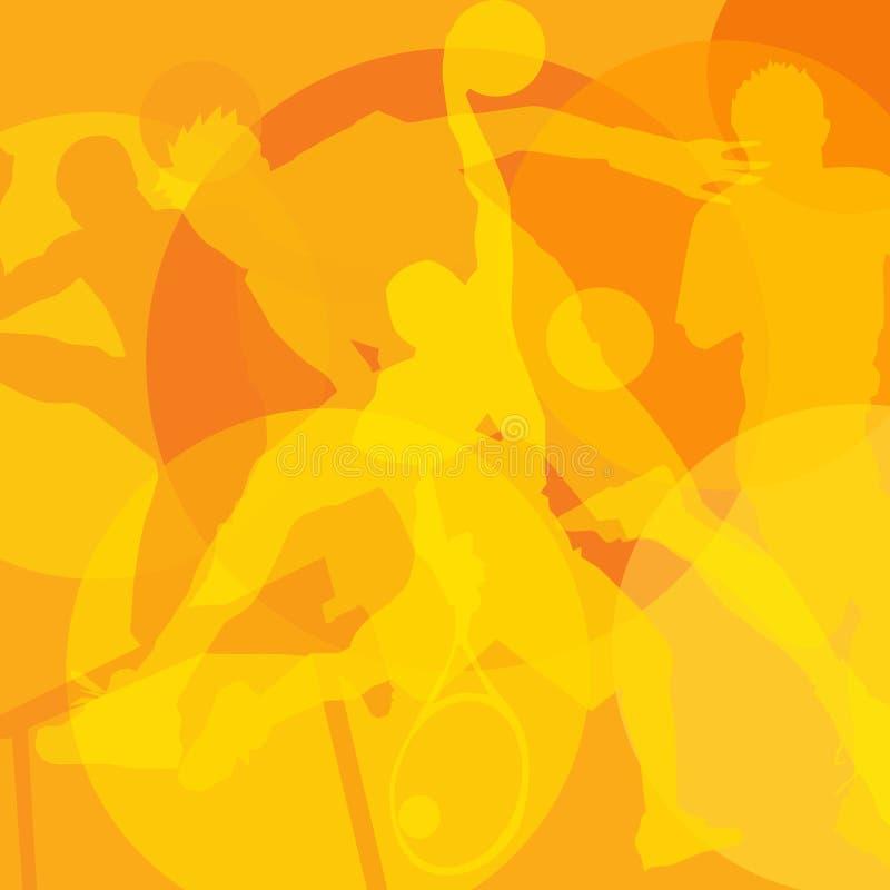 Basketball mit Metallflügeln Olympiadeillustration Gelbe Schattenbilder von Athleten auf einem orange Hintergrund vektor abbildung