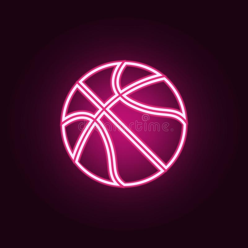 basketball neon icon. Elements of web set. Simple icon for websites, web design, mobile app, info graphics royalty free illustration