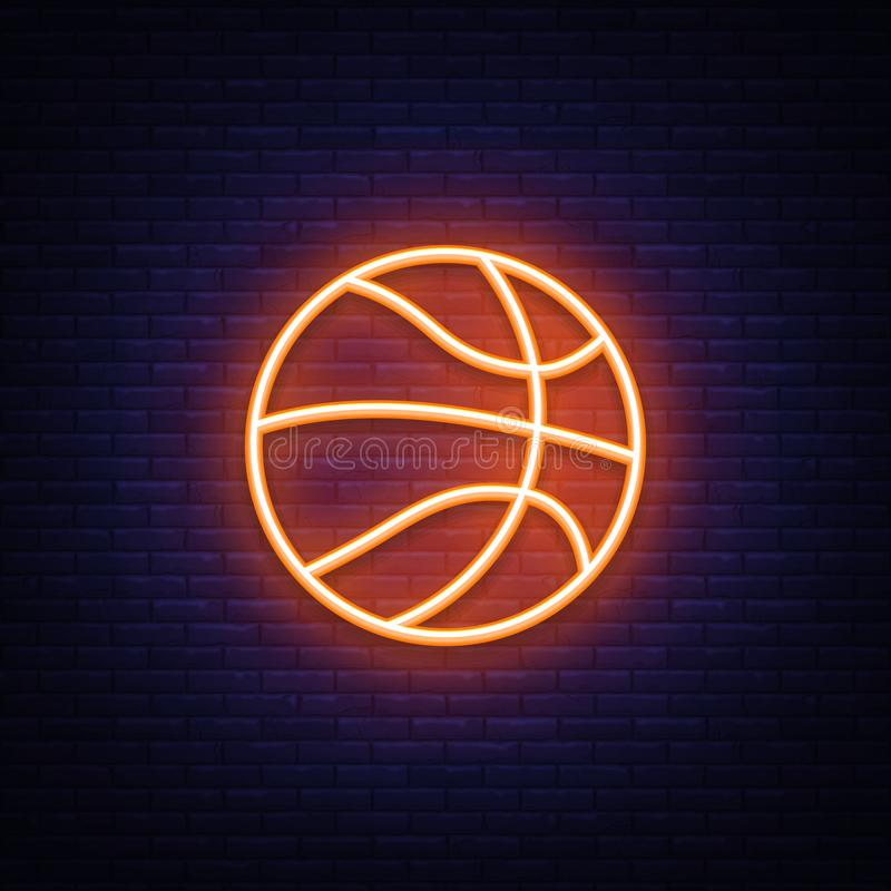 Basketball neon icon vector design element. Basketball symbol neon, light banner design element colorful modern design stock illustration