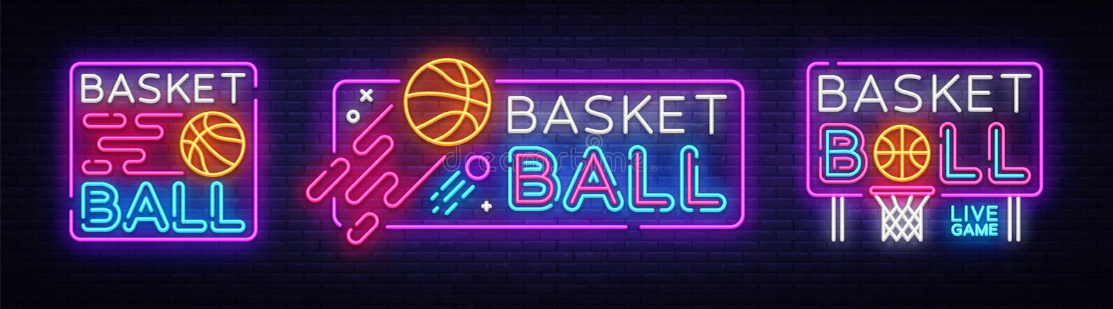 Basketball neon sign collection vector. Basketball Design template neon sign, light banner, neon signboard, nightly stock illustration