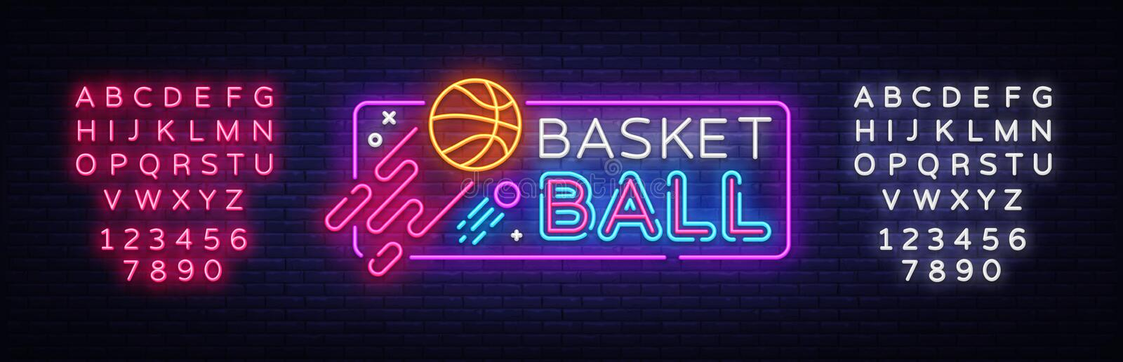 Basketball neon sign vector. Basketball Design template neon sign, light banner, neon signboard, nightly bright vector illustration