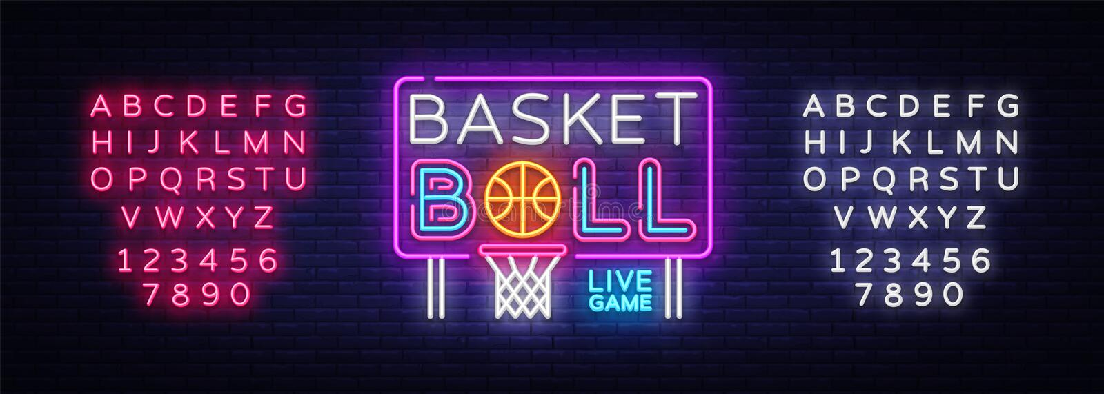 Basketball neon sign vector. Basketball Design template neon sign, light banner, neon signboard, nightly bright stock illustration