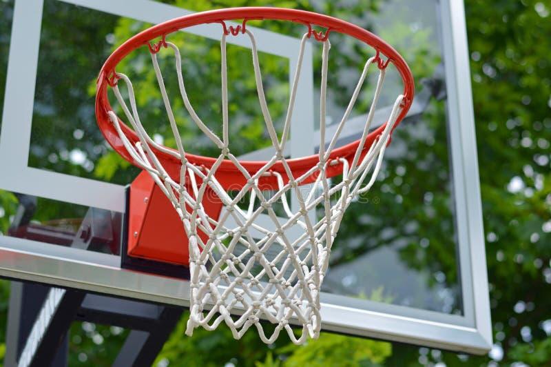 Basketball Net. Outdoor Basketball Net in the Summer stock photo