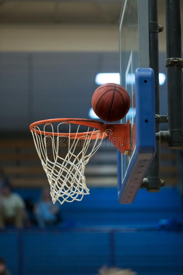 Missed Basketball shot at the net and backboard. Basketball in net for score in profile stock photos