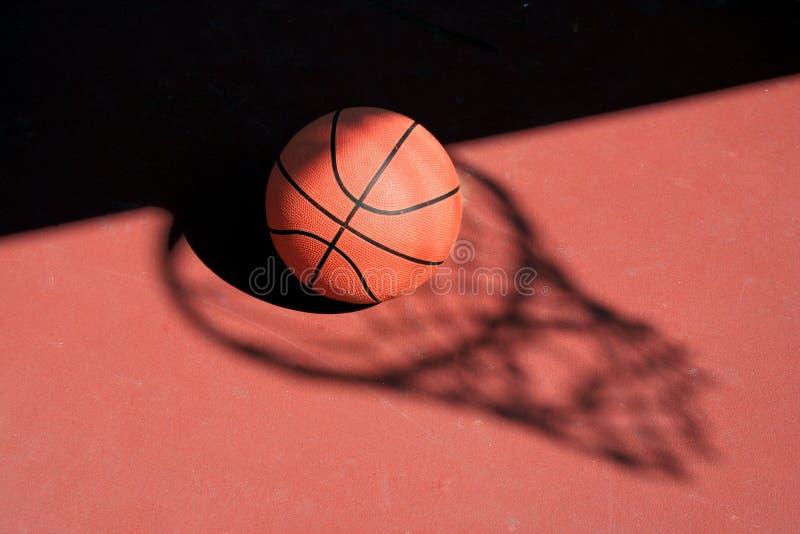 Basketball and net shadow stock photography