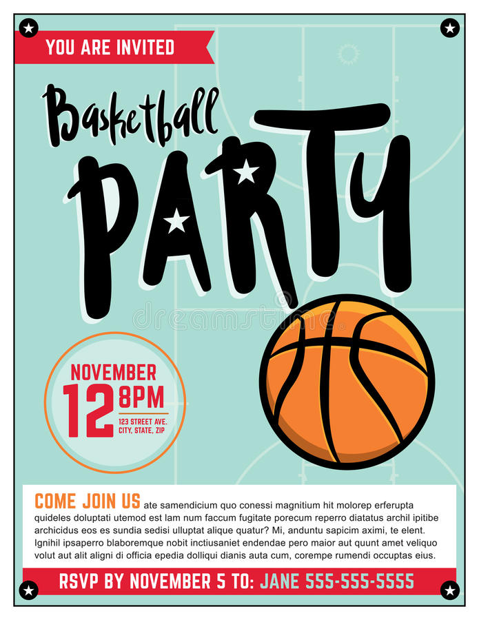 Basketball Party Invitation Template Illlustration Stock Vector ...
