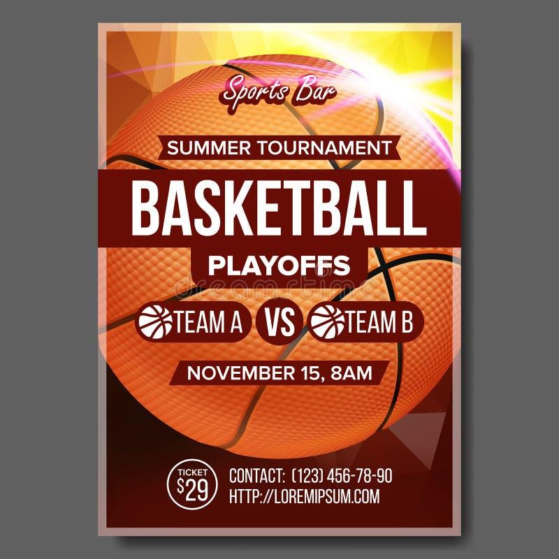 Basketball-Plakat-Vektor Design für Sport-Stangen-Förderung Getrennt auf weißem Hintergrund Modernes Turnier Spiel-Ereignis-Illus vektor abbildung