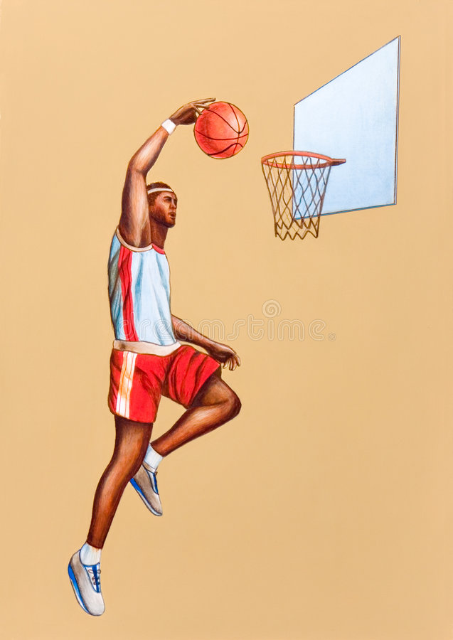 Basketball player. Jumping. Hand painted illustration stock illustration