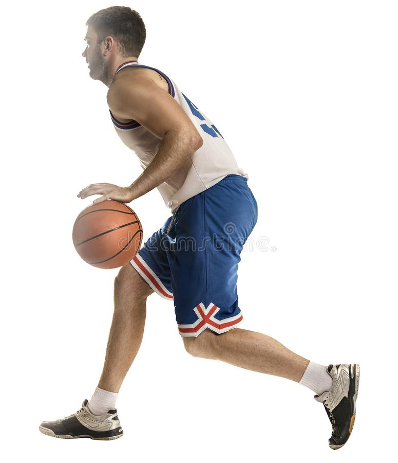 Basketball player in action isolated on white background stock images