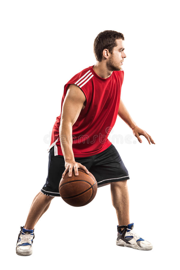 Basketball player with ball isolated on white royalty free stock images