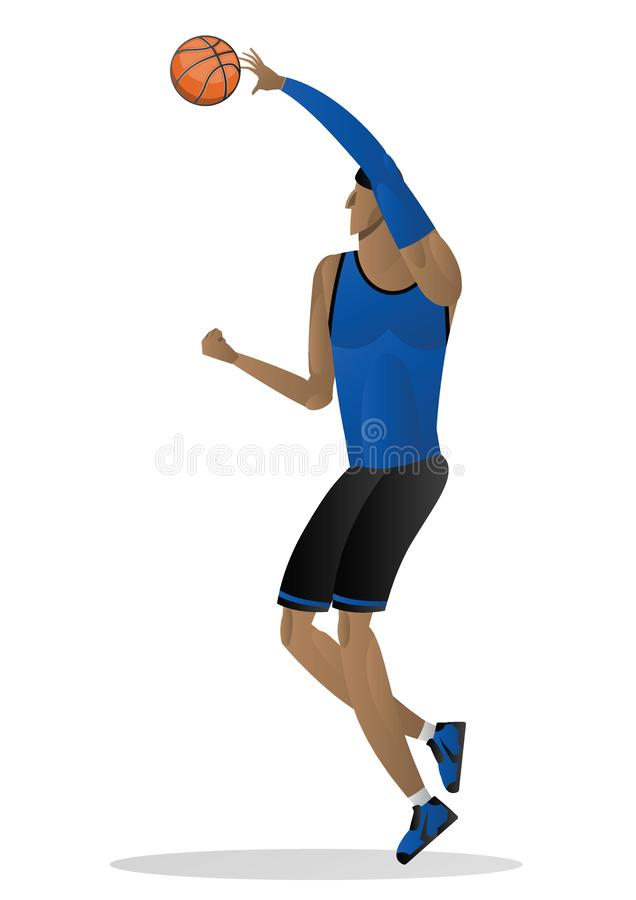 basketball player in blue black uniform with the ball. Vector illustration stock illustration