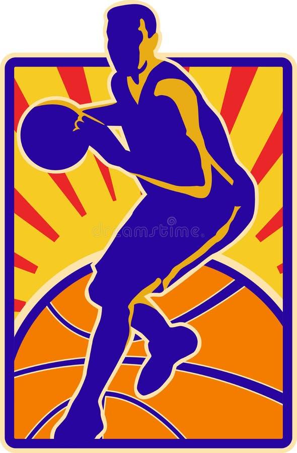Basketball Player Dribbling Ball Retro royalty free illustration