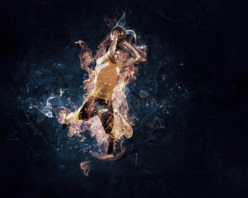 Basketball Player on Fire stock image
