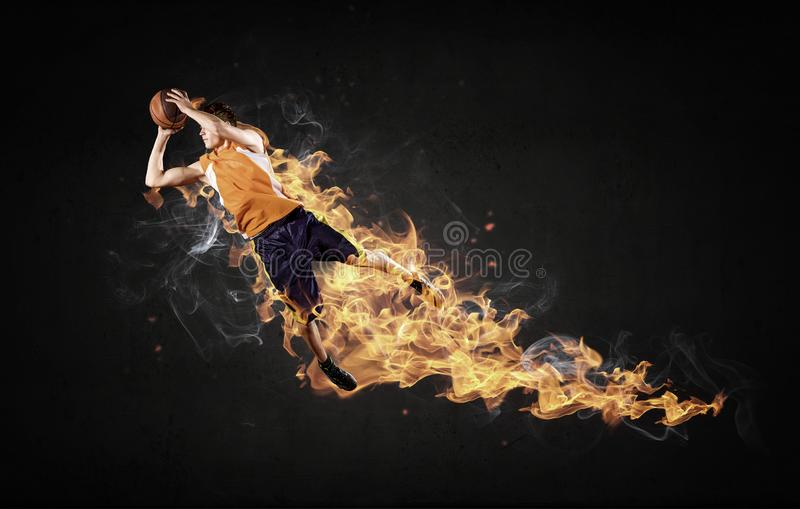 Basketball Player on Fire stock photography