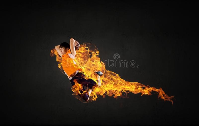 Basketball Player on Fire royalty free stock image
