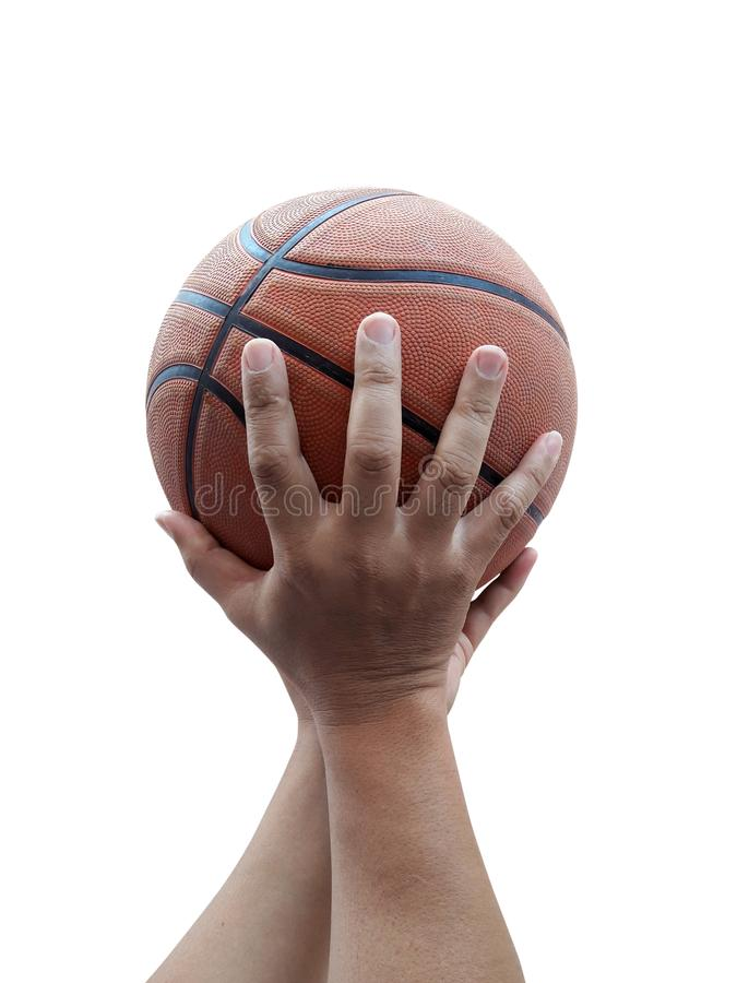 Basketball player holding a ball against White background. For design In the media Advertising royalty free stock images