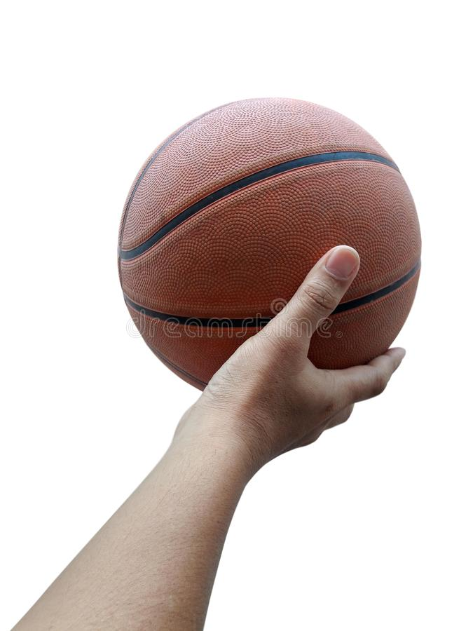 Basketball player holding a ball against White background. For design In the media Advertising royalty free stock image
