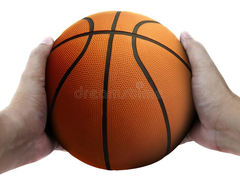 Basketball player holding a ball against white background. For design In the media Advertising stock photos