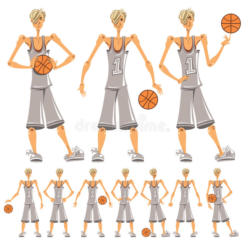 Basketball player illustrations set. stock photo