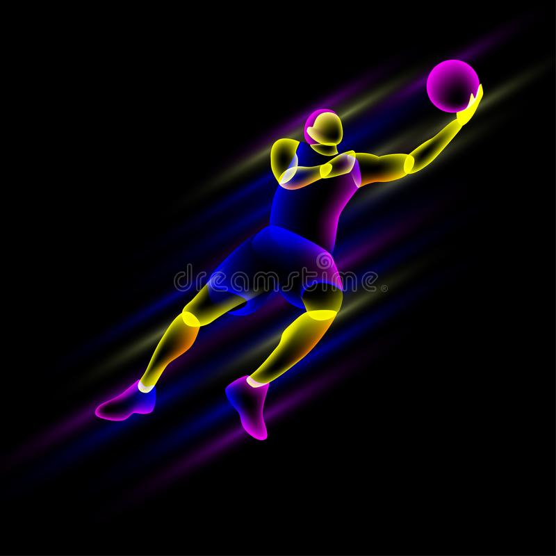 Basketball player in a jump. stock illustration