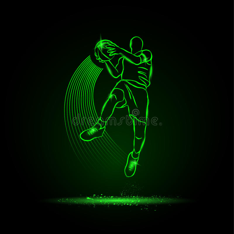 Basketball. The player jumping with the ball. neon style royalty free illustration