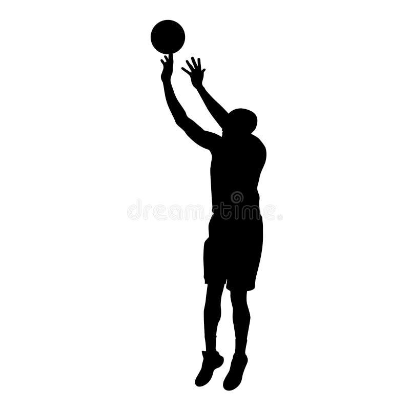 Basketball player makes jump shot. Vector silhouette vector illustration