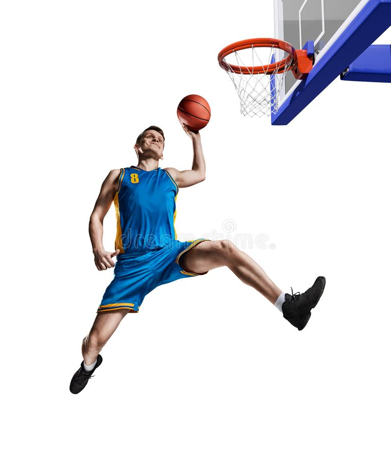 Basketball player making slam dunk isolated. Basketball playing making slam dunk isolated on white stock photos