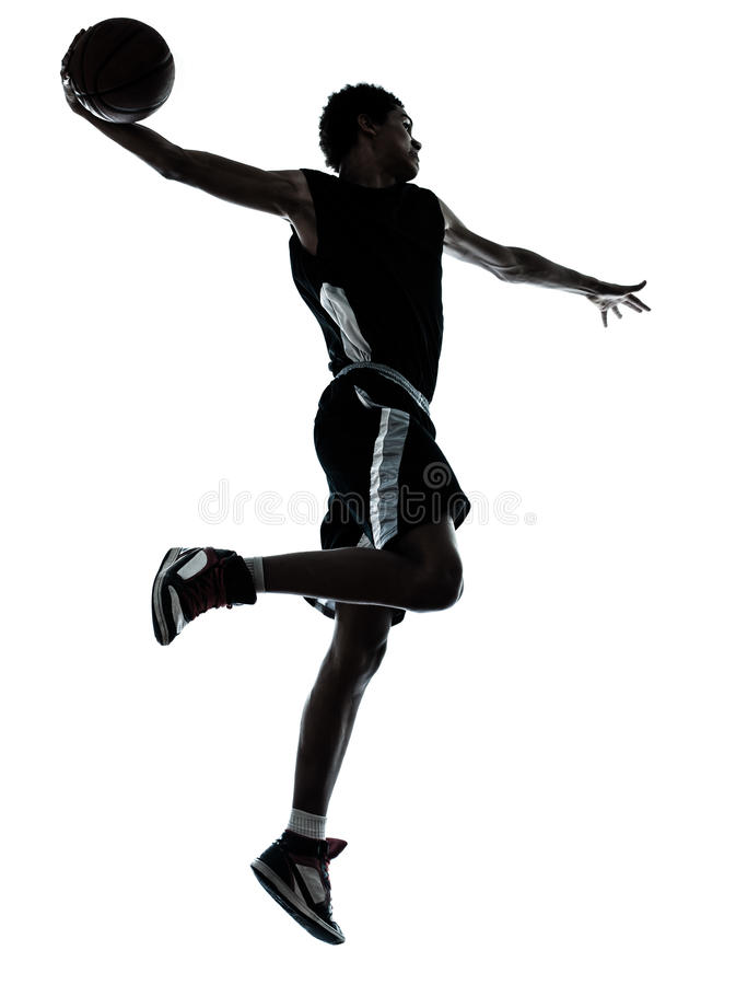 Free Basketball Player One Hand Slam Dunk Silhouette Royalty Free Stock Images - 36686859