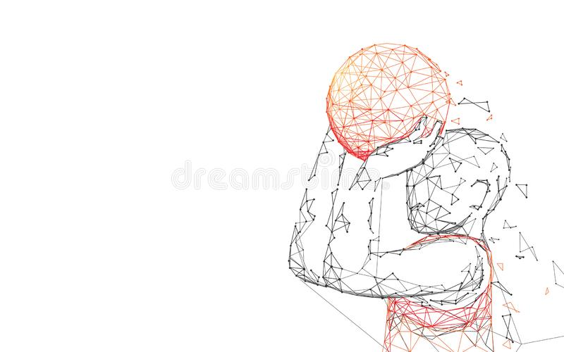 Basketball Player Shooting form lines, triangles and particle style design stock illustration