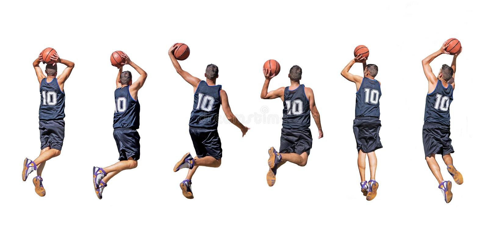 Basketball player silhouettes royalty free stock photography