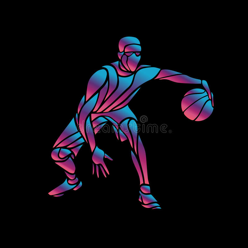 Basketball Player Slam Dunk Neon Glow Silhouette Stock ...