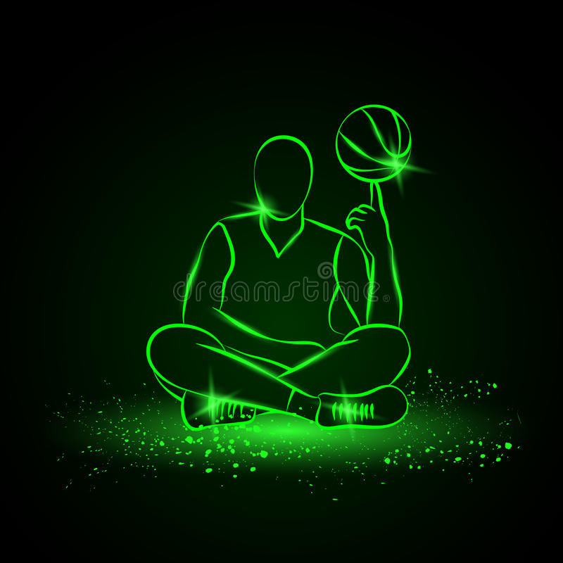 Basketball player spins the ball. Neon style royalty free illustration