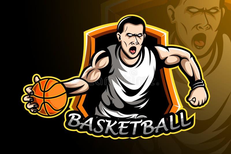 Basketball player sport logo design vector illustration