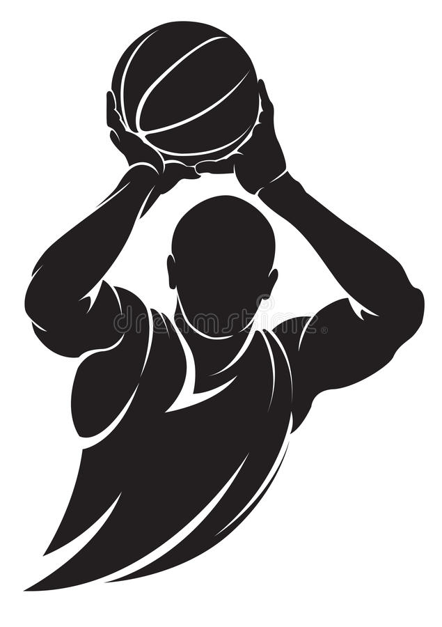 Basketball player. Vector silhouette, isolated on white stock illustration