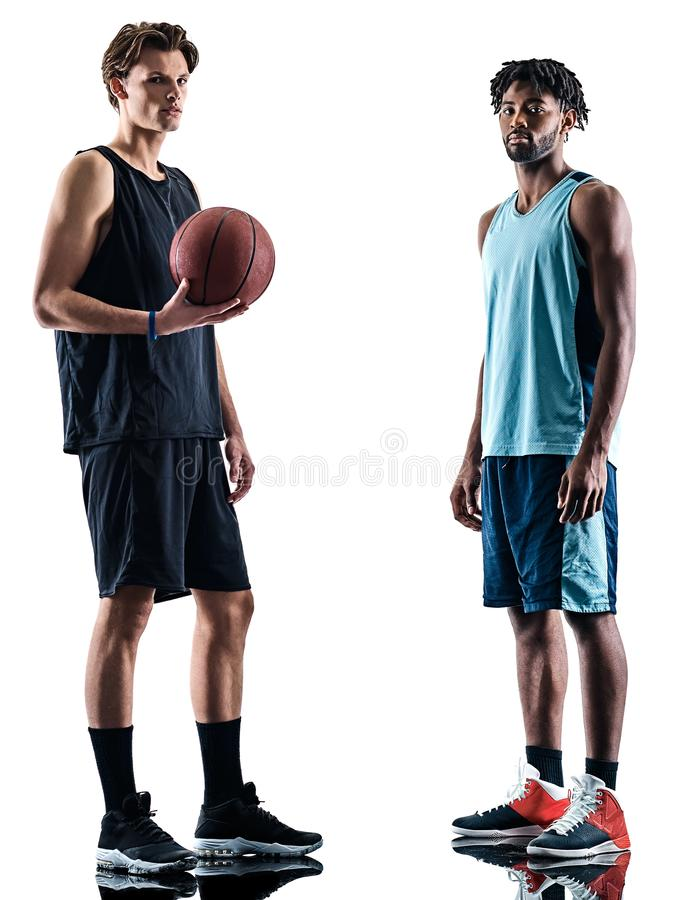 Basketball players men isolated silhouette shadow. Two basketball players men isolated in silhouette shadow on white background stock photography