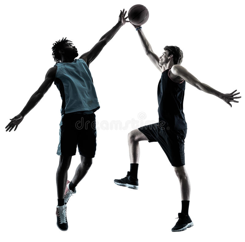 Basketball players men isolated silhouette shadow. Two basketball players men isolated in silhouette shadow on white background royalty free stock images