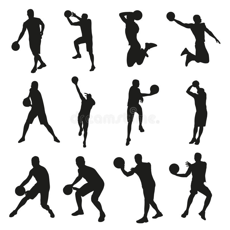 Basketball players, set of vector silhouettes royalty free illustration