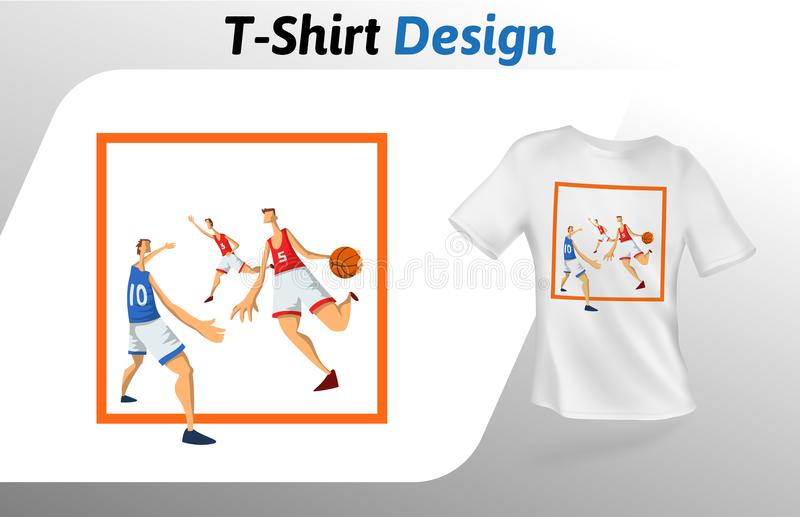 Basketball players in square, sport event t-shirt print. Mock up t-shirt design template. Vector template, isolated on. Basketball players in square, sport event vector illustration