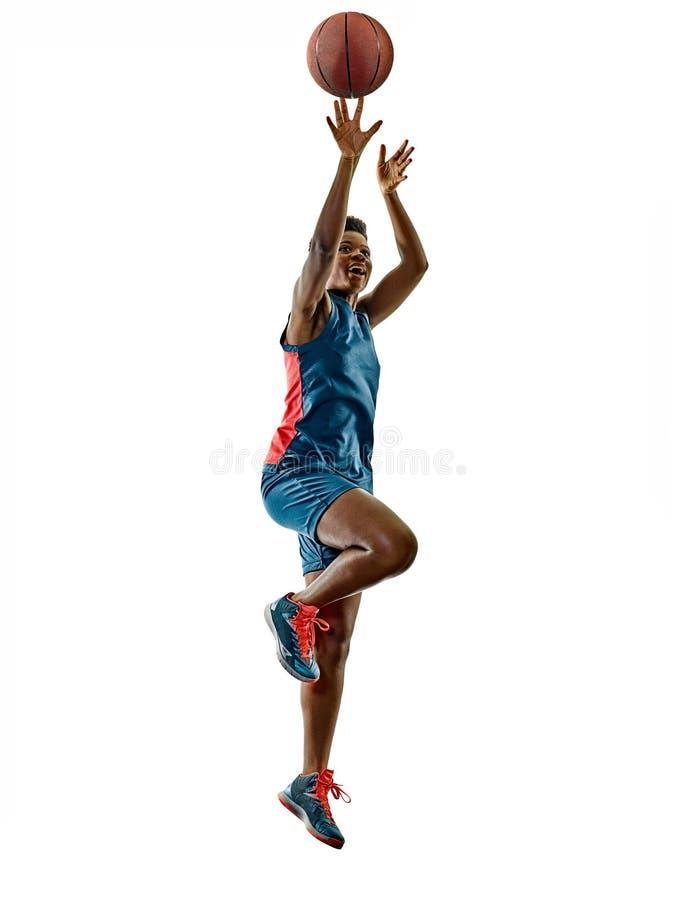 Basketball players woman teenager girl isolated shadows stock photos