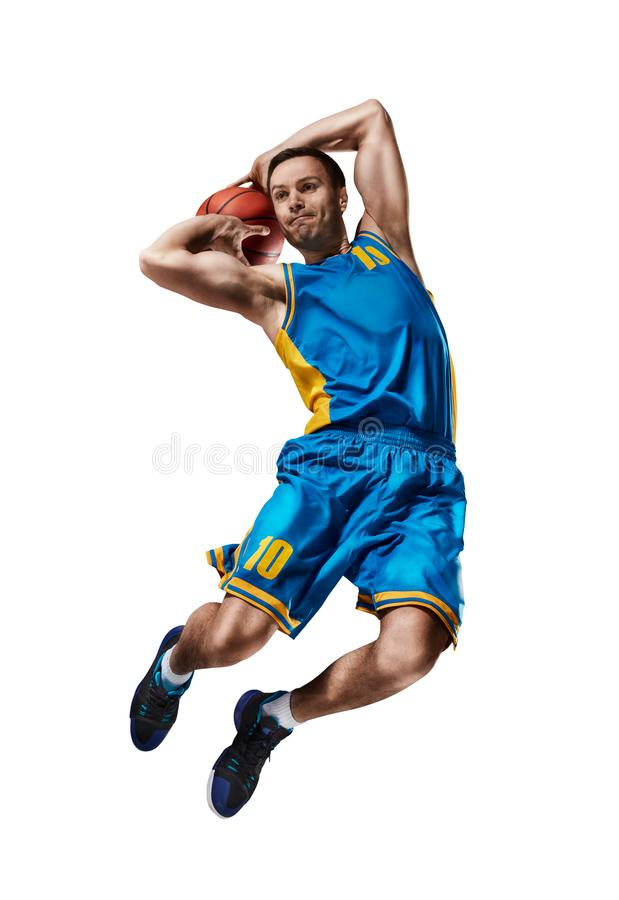 Basketball playing making slam dunk isolated. On white royalty free stock photos