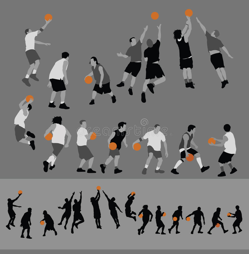 Basketball Poses. This is a collection of basketball players in both seperate pieces and silhouette forms. Alternate file format is illustrator 8 .ai stock illustration