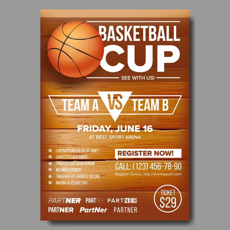 Basketball Poster Vector. Basketball Ball. Sport Design For Sports Bar Event Promotion. Basketball Game Flyer, Leaflet. Basketball Poster Vector. Design For stock illustration