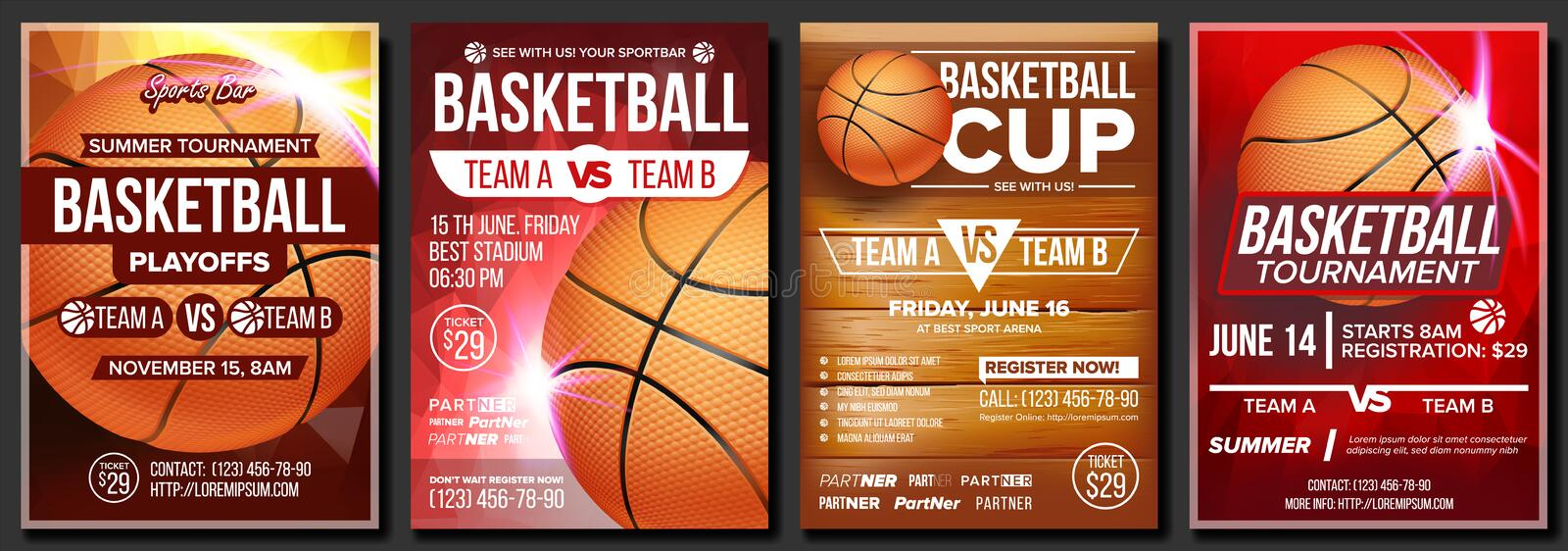 Basketball Poster Set Vector. Design For Sports Bar Promotion. Basketball Ball. Tournament. Sport Event Announcement. Basketball Poster Vector. Design For Sport stock illustration