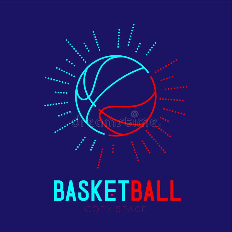 Basketball with radius frame logo icon outline stroke set dash line design illustration. Isolated on dark blue background with basketball text and copy space stock illustration