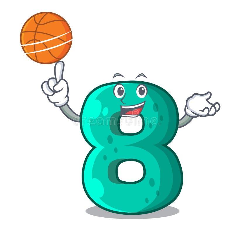 With basketball raster version cartoon shaped Number Eight. Vector illustration vector illustration